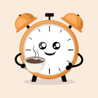 Despertador beber café pela manhã mascote fofo