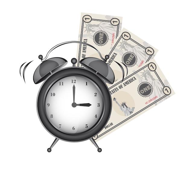 Despertador com contas isoladas sobre o vetor de fundo branco