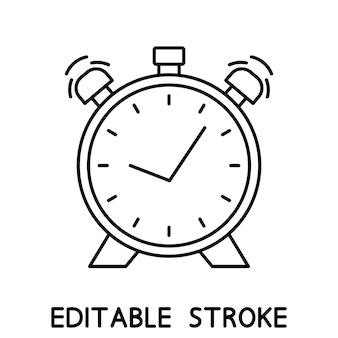 Despertador com sino duplo. ícone de tempo no estilo do contorno. ícone de relógio simples. traço editável. vetor