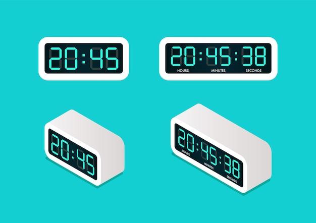 Despertador digital vista frontal e isométrica. ilustração vetorial