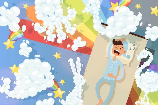 Despertador em estado de silêncio, homem dorme e vê ilustração de sonhos coloridos. nuvens de desenhos animados em forma de animais diferentes.