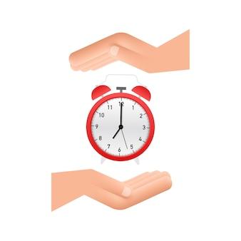 Despertador, hora de despertar em mãos sobre fundo branco. ilustração em vetor das ações.