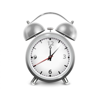 Despertador retrô em caixa metálica com dois sinos isolado na ilustração vetorial realista de fundo branco