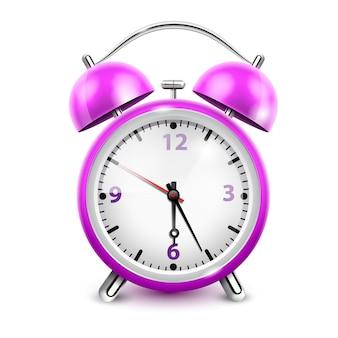 Despertador roxo com dois sinos em estilo retro na ilustração vetorial realista de fundo branco