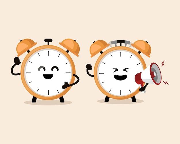 Despertador segurando um alto-falante gritando mascote fofo
