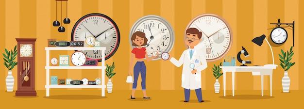 Despertadores, venda e reparo de ilustração de despertador. dispositivo para medir o tempo, o personagem relojoeiro falando