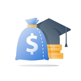 Despesas de mensalidade, custo de educação, pagamento de bolsa de estudos, empréstimo de estudo
