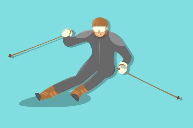 Desportista de quadrinhos esqui alpino