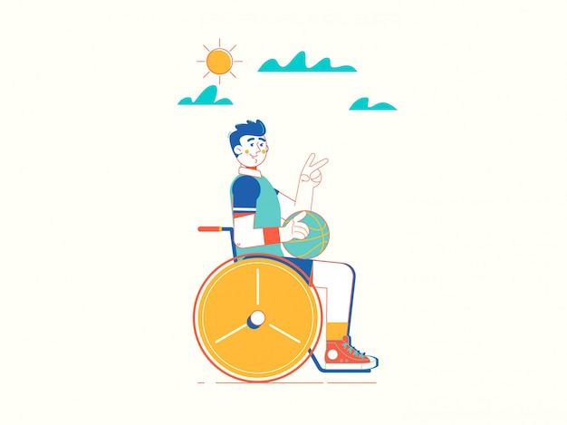 Desportista jovem com deficiência em cadeira de rodas