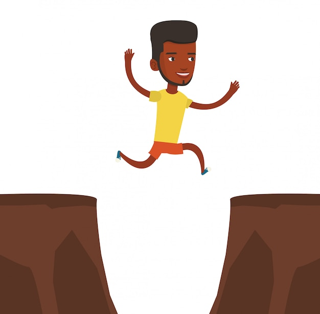 Desportista, saltando sobre ilustração vetorial de penhasco