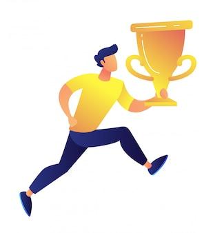 Desportista, segurando a ilustração em vetor grande troféu copa ouro.