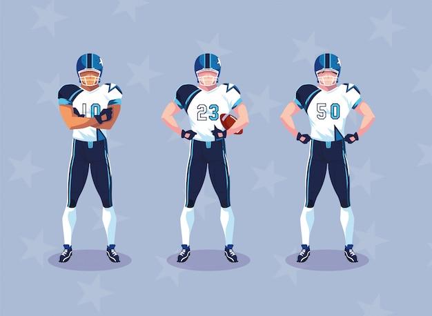 Desportistas com uniforme, homens equipe jogadores de futebol americano