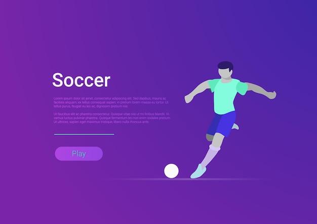 Desportistas de futebol vector banner de modelo web de estilo simples