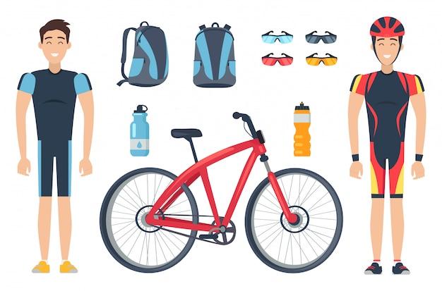 Desportistas masculinos em roupas especiais perto de bicicletas vermelhas