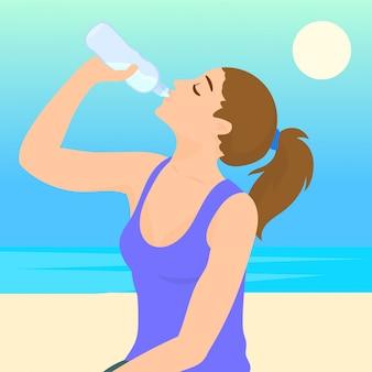 Desportiva mulher bebendo água ao ar livre em dia ensolarado
