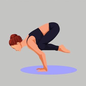 Desportiva mulher fazendo yoga desafiador pose premium