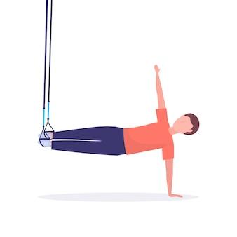 Desportivo homem fazendo exercícios com suspensão cintas de fitness corda elástica guy treinamento no ginásio conceito cardio lifestyle saudável fundo branco comprimento total