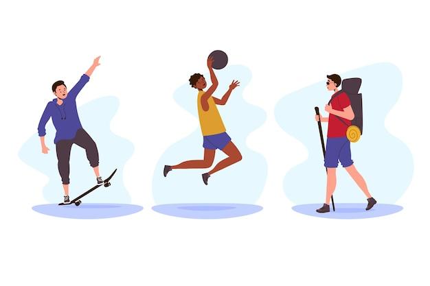 Desportivos de verão fazendo atividades ao ar livre Vetor grátis