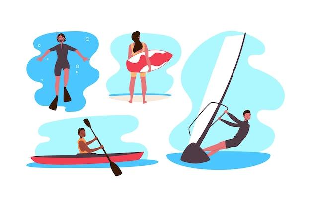 Desportos aquáticos para pessoas de verão Vetor grátis