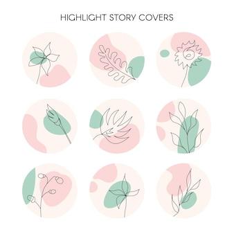 Destacar ícones de capa de história para mídias sociais vetoriais florais naturais desenhados com pastel redondo