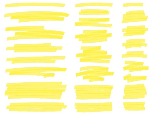 Destaque as linhas do marcador. traços de marcadores de texto em amarelo, marcação de destaques