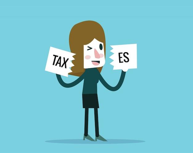 Destaque de empresária, papel de impostos. conceito de financiamento e lucro. elementos de design planos. ilustração vetorial