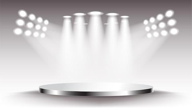 Destaque na cena do palco. pedestal vazio iluminado