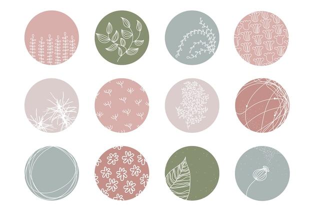 Destaque o conjunto de capa, ícones botânicos florais abstratos para mídia social. ilustração vetorial