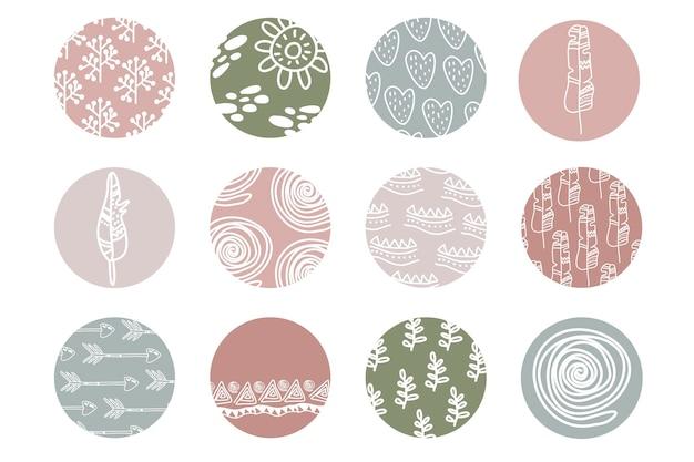 Destaque o conjunto de capa, ícones botânicos florais abstratos para mídia social. modelo de instagram de ícones boho