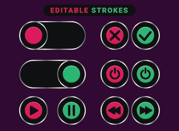 Destaque os botões brilhantes rosa e ciano