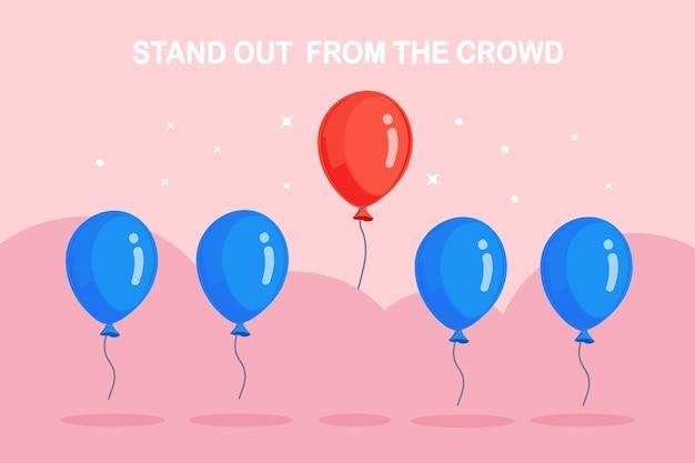 Destaque-se da multidão. balões de ar voando, círculo e estrelas no fundo. pense de forma diferente no conceito.