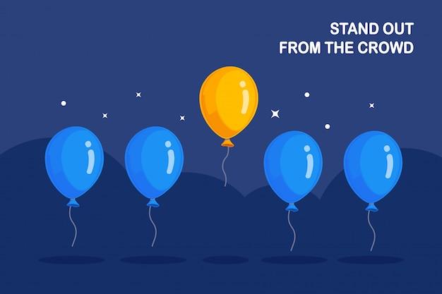 Destaque-se da multidão. balões de ar voando, círculo e estrelas no fundo.