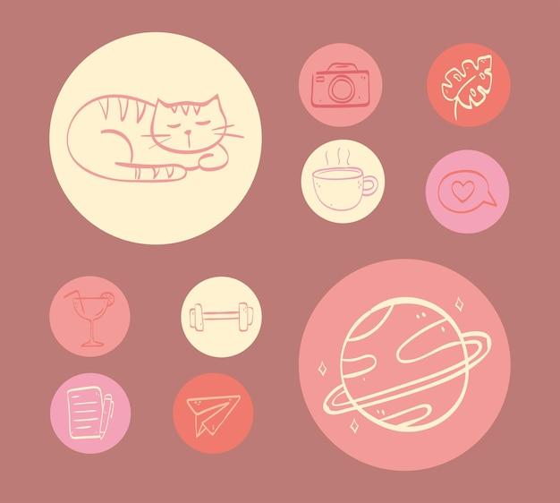 Destaques cobre ícones redondos