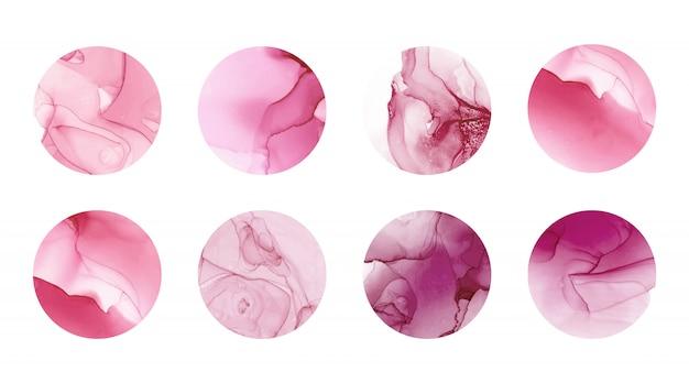 Destaques da história capas com textura de tinta de álcool rosa.