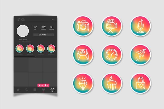 Destaques das histórias de gradiente de mídia social do instagram