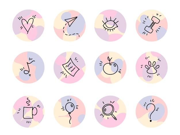 Destaques de histórias de doodle no instagram