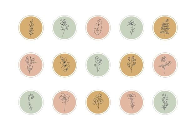 Destaques de histórias do instagram com elementos florais desenhados à mão