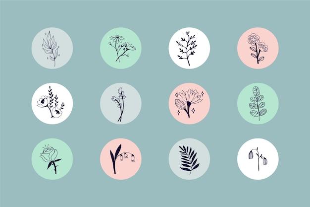 Destaques de histórias florais desenhadas à mão do instagram