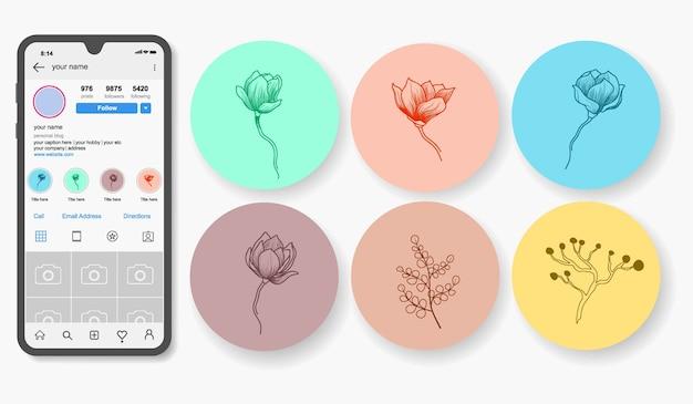 Destaques de histórias florais desenhadas à mão no instagram.