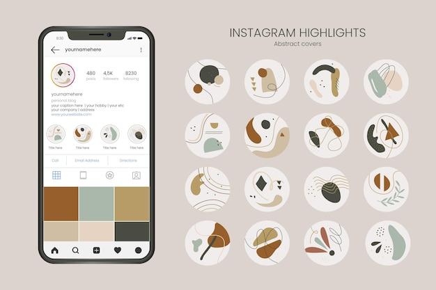 Destaques do instagram desenhado à mão abstrata