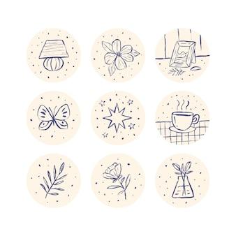 Destaques do instagram desenhado à mão