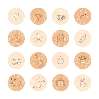Destaques do instagram desenhados à mão