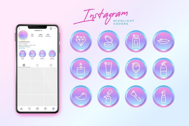 Destaques do instagram gradiente