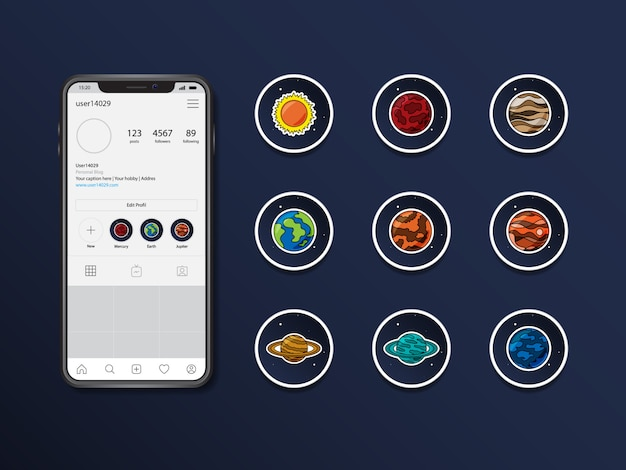 Destaques do vetor de planetas do instagram destacam