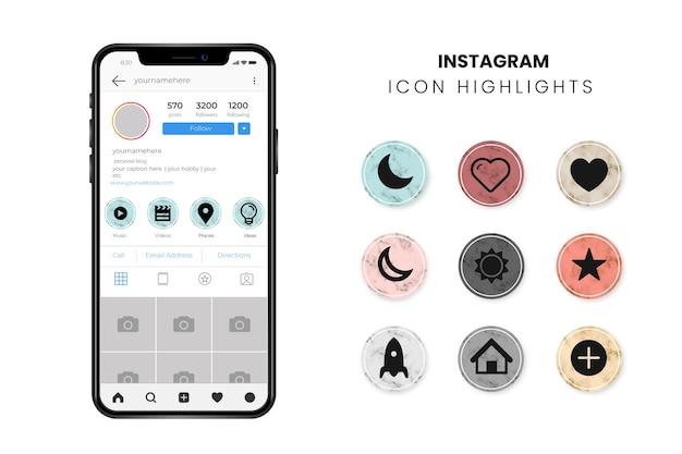 Destaques em mármore do instagram