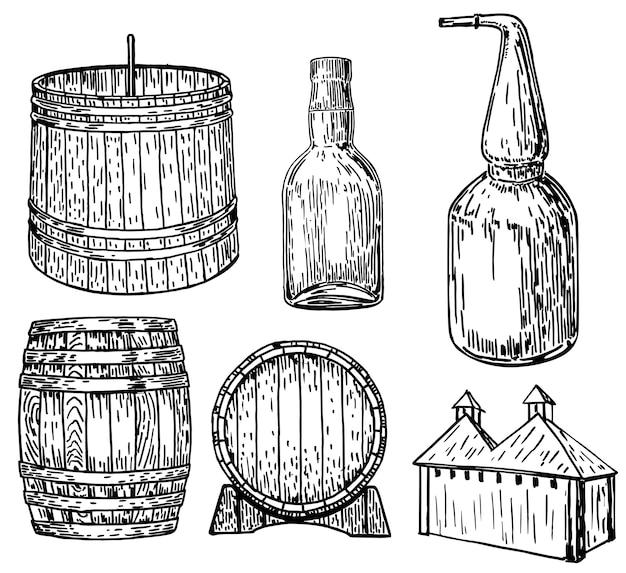 Destilaria conjunto mão desenhada