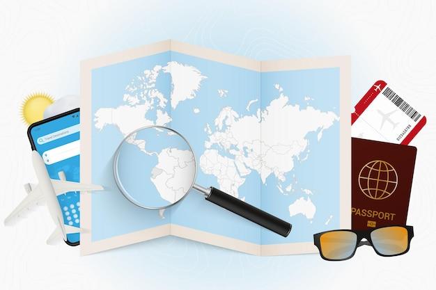 Destino de viagem equador, maquete de turismo com equipamento de viagem e mapa-múndi com lupa em um equador.