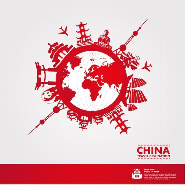 Destino de viagem na china, ilustração