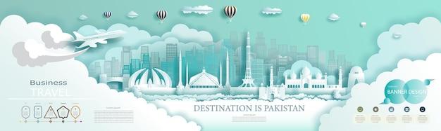 Destino de viagem no paquistão em estilo recortado de papel