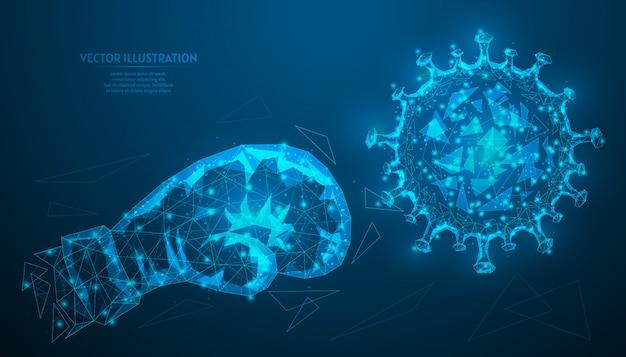 Destruição da luva de boxe do vírus da infecção por coronovírus covid-19 closeup. o conceito de criação de um medicamento, vacina. medicina inovadora.